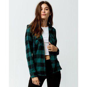 Buffalo Check Plaid Hooded Flannel Shirt Green